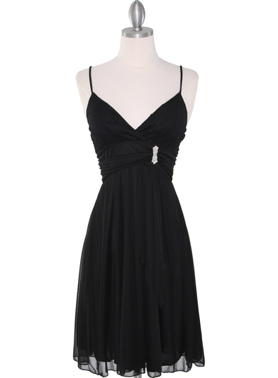 861 Empire Cocktail Dress - Black, Front View Medium