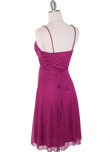 861 Empire Cocktail Dress - Magenta, Back View Medium
