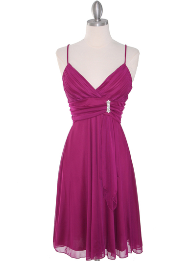861 Empire Cocktail Dress - Magenta, Front View Medium