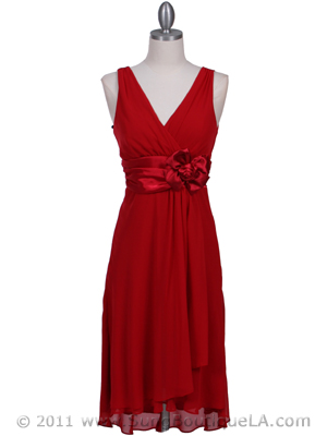8632 Red Chiffon Cocktail Dress, Red