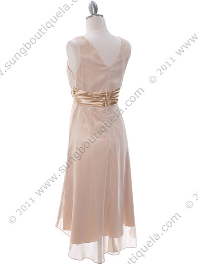 8641 Gold Chiffon Bridesmaid Dress - Gold, Back View Medium