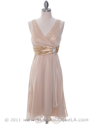 Gold Chiffon Bridesmaid Dress - Front Image