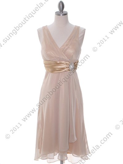 8641 Gold Chiffon Bridesmaid Dress - Gold, Front View Medium
