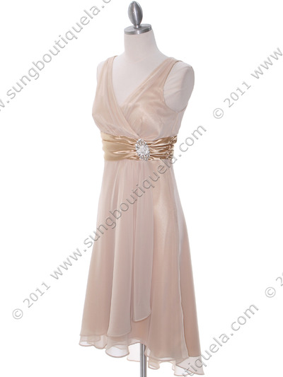 8641 Gold Chiffon Bridesmaid Dress - Gold, Alt View Medium
