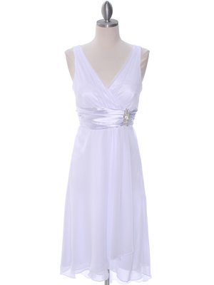 8641 White Chiffon Graduation Dress, White