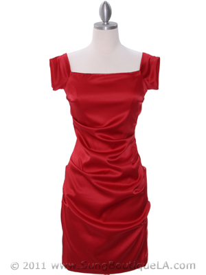 8638 Red Cocktail Dress, Red