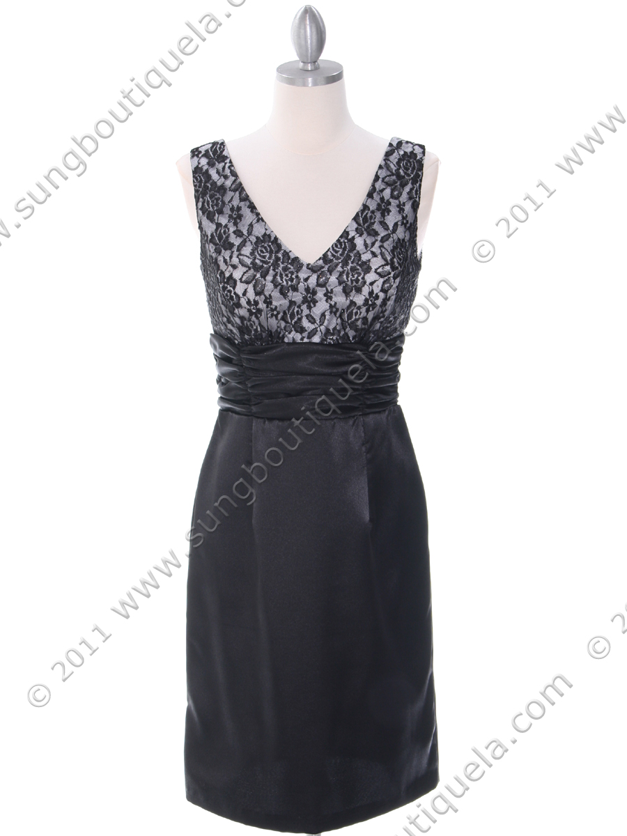 6cea25f52633 8653 Black and Silver Cocktail Dress - Black Silver, Front View Medium ...