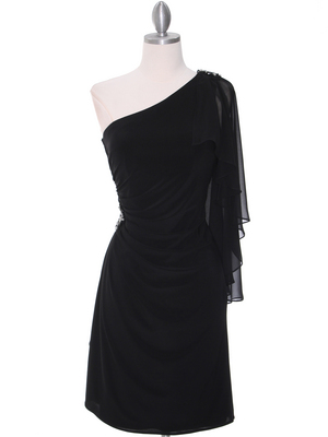 8659 Black One Shoulder Cocktail Dress, Black