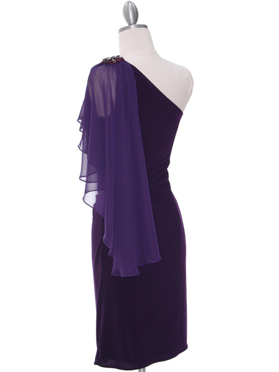 8659 Purple One Shoulder Cocktail Dress - Purple, Back View Medium