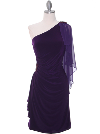 8659 Purple One Shoulder Cocktail Dress - Purple, Front View Medium