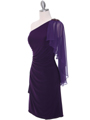8659 Purple One Shoulder Cocktail Dress - Purple, Alt View Thumbnail