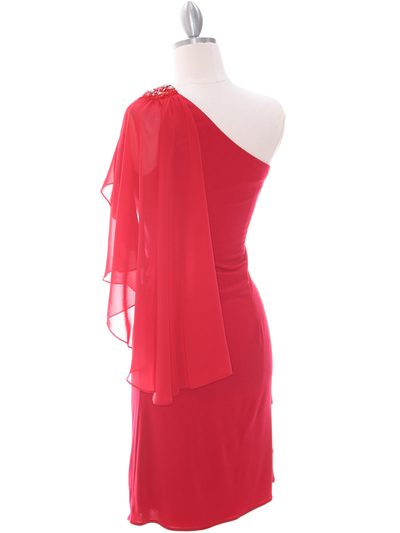 8659 Red One Shoulder Cocktail Dress - Red, Back View Medium