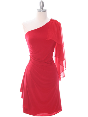 8659 Red One Shoulder Cocktail Dress, Red