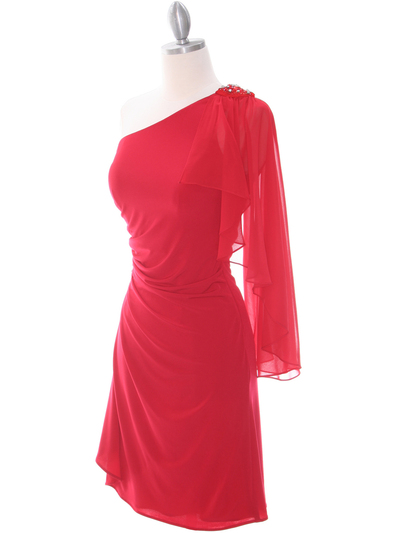 8659 Red One Shoulder Cocktail Dress - Red, Alt View Medium