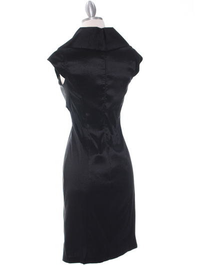 8671 Black Taffeta Cocktail Dress - Black, Back View Medium