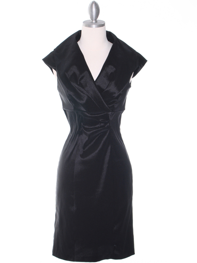 8671 Black Taffeta Cocktail Dress - Black, Front View Medium