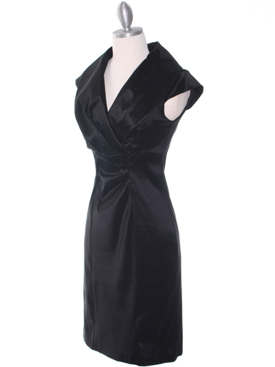 8671 Black Taffeta Cocktail Dress - Black, Alt View Medium