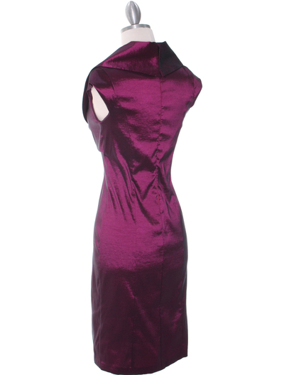 8671 Plum Taffeta Cocktail Dress - Plum, Back View Medium