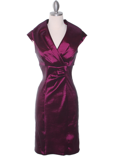 8671 Plum Taffeta Cocktail Dress - Plum, Front View Medium