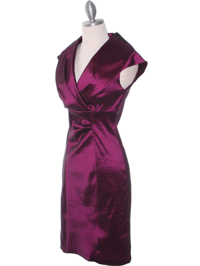 8671 Plum Taffeta Cocktail Dress - Plum, Alt View Medium