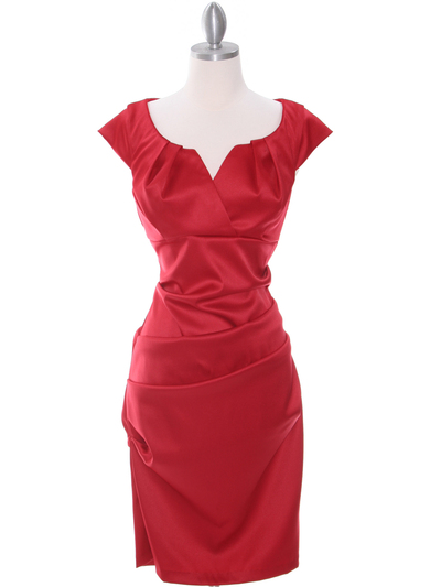 8672 Red Cocktail Dress - Red, Front View Medium