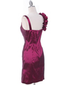 8674 Magenta Taffeta Cocktail Dress - Magenta, Back View Thumbnail