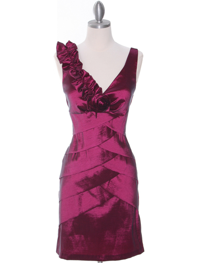 8674 Magenta Taffeta Cocktail Dress - Magenta, Front View Medium
