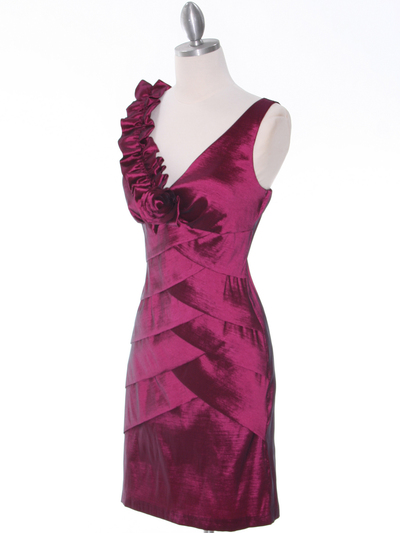 8674 Magenta Taffeta Cocktail Dress - Magenta, Alt View Medium