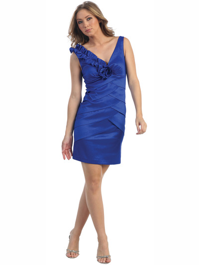 8674 Royal Blue Taffeta Cocktail Dress - Royal Blue, Front View Medium