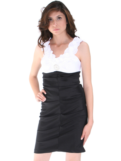 8700 Black White Taffeta Cocktail Dress - Black White, Front View Medium