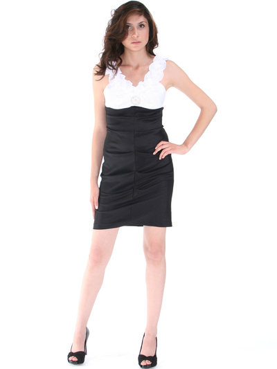 8700 Black White Taffeta Cocktail Dress - Black White, Alt View Medium