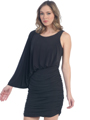 8711 One Sleeve Cocktail Dress - Black, Front View Thumbnail