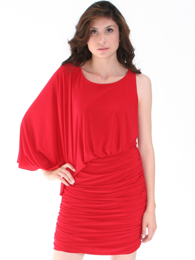 8711 One Sleeve Cocktail Dress - Red, Front View Medium