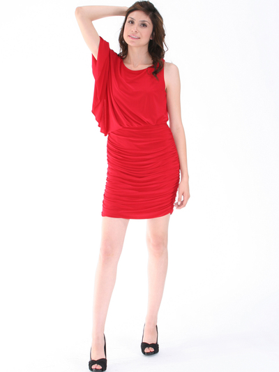 8711 One Sleeve Cocktail Dress - Red, Alt View Medium