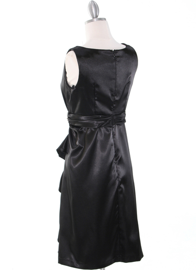 8712 Vintage Satin Cocktail Dress - Black, Back View Medium