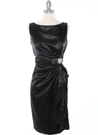 8712 Vintage Satin Cocktail Dress - Black, Front View Medium