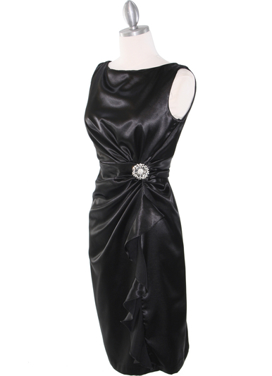 8712 Vintage Satin Cocktail Dress - Black, Alt View Medium