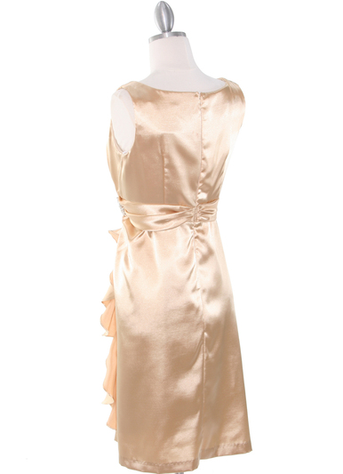 8712 Vintage Satin Cocktail Dress - Gold, Back View Medium