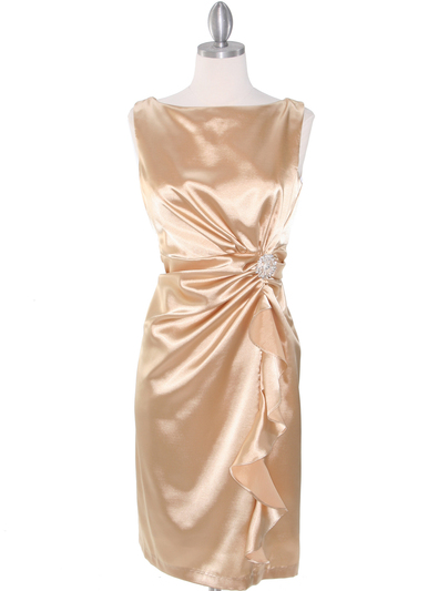 8712 Vintage Satin Cocktail Dress - Gold, Front View Medium
