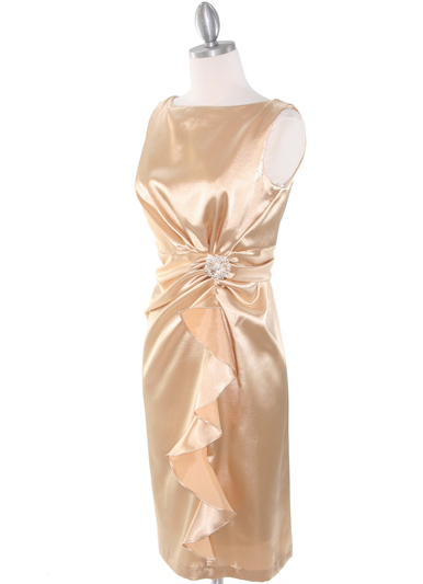 8712 Vintage Satin Cocktail Dress - Gold, Alt View Medium