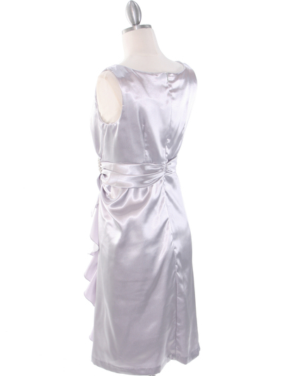 8712 Vintage Satin Cocktail Dress - Silver, Back View Medium