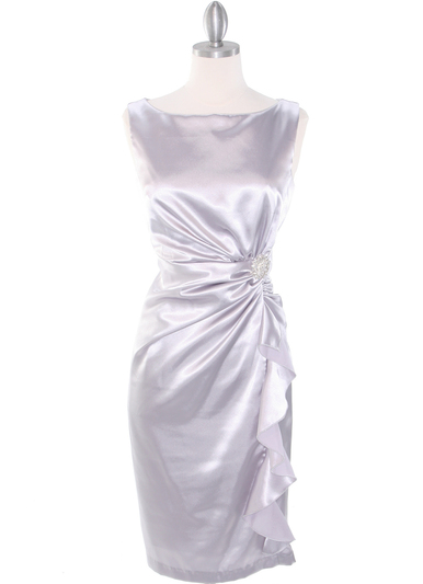 8712 Vintage Satin Cocktail Dress - Silver, Front View Medium