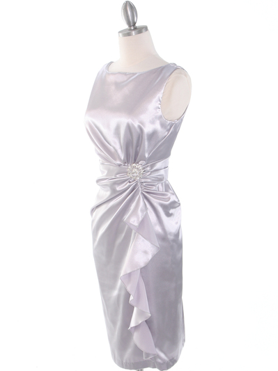 8712 Vintage Satin Cocktail Dress - Silver, Alt View Medium