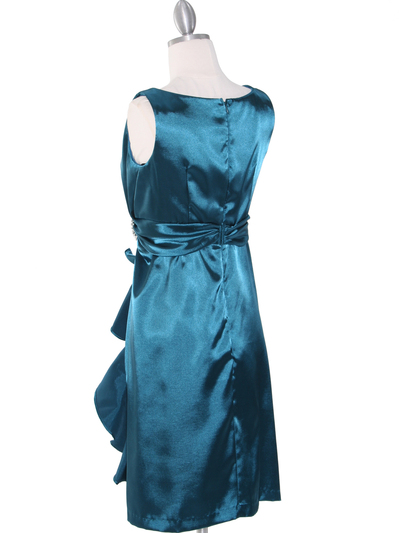 8712 Vintage Satin Cocktail Dress - Teal, Back View Medium