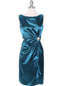 8712 Vintage Satin Cocktail Dress, Teal