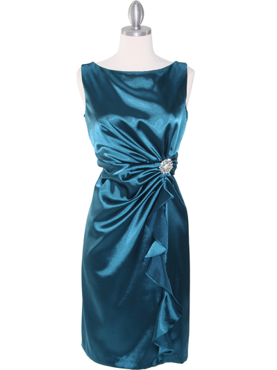8712 Vintage Satin Cocktail Dress - Teal, Front View Medium