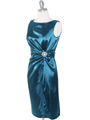 8712 Vintage Satin Cocktail Dress - Teal, Alt View Thumbnail