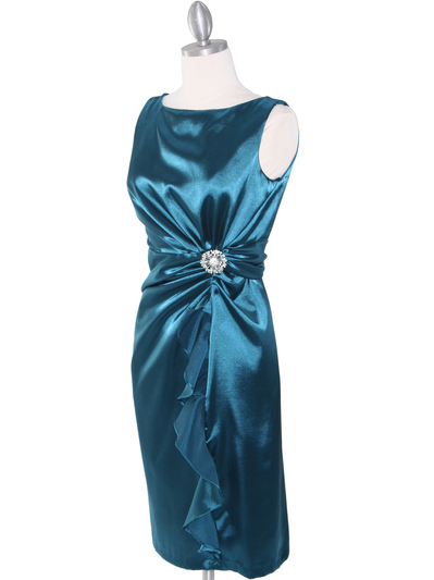 8712 Vintage Satin Cocktail Dress - Teal, Alt View Medium