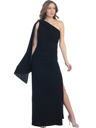8714 One Shoulder Evening Dress with Sash - Black, Front View Medium