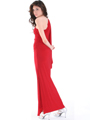 8714 One Shoulder Evening Dress with Sash - Red, Back View Thumbnail